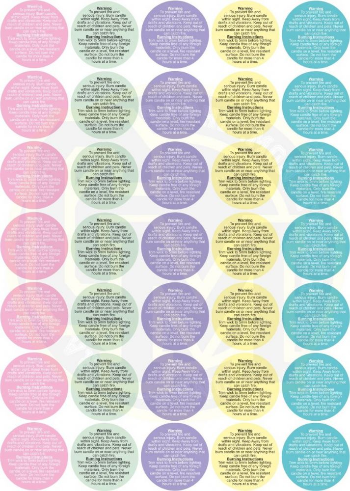 Coloured Candle Making Safety Stickers 37mm Paper Burning Instructions